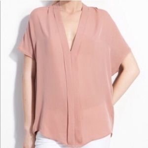 Vince Pleat V Neck Silk Blouse
